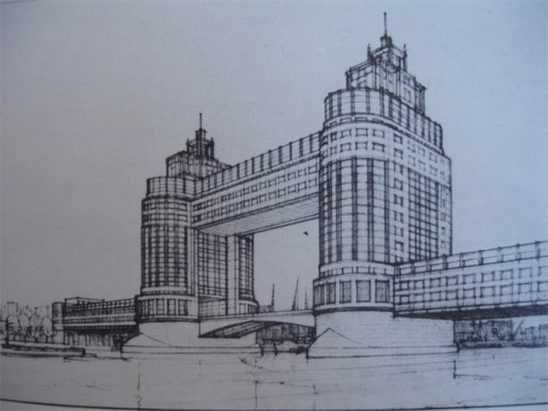 Proposal by W.F.C. Holden to encase the bridge in glass to protect it during the Second World War.