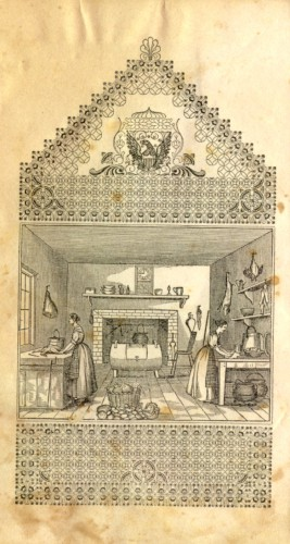 Frontispiece showing two women working in a kitchen. Mrs. E.A. Howland, The American Economical Housekeeper and Family Receipt Book (Cincinnati: H.W. Derby & Co., 1845). Library of Congress.