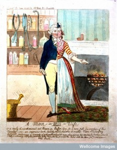 Caricature of a man-midwife as a split figure