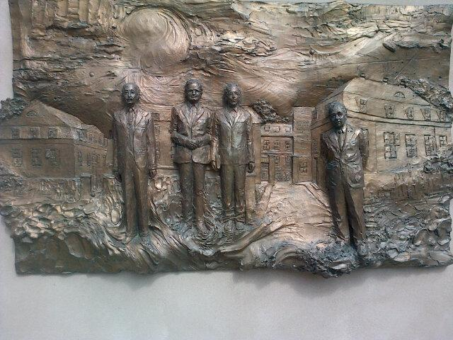 The four Nobel laureates of NBI. Niels Bohr is on the right. Who can name the others? Via @telescoper
