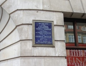 Blue plaque marking the workshop of Thomas Tompion and George Graham, Fleet Street (Rebekah Higgitt)