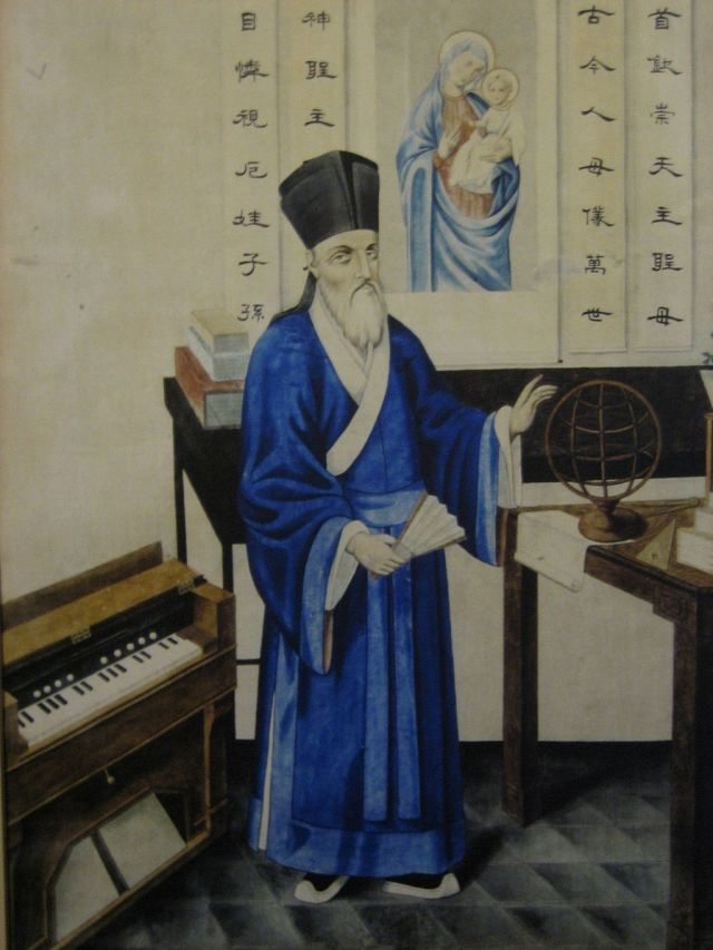 Matteo Ricci dressed in traditional Chinese robes. Artist unknown
