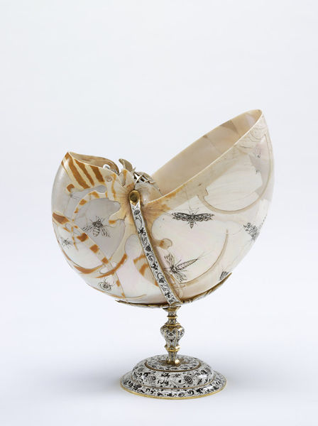Nautilus cup, unknown maker, ca. 1620, Dutch. Engraved nautilus shell set in a silver gilt mount enamelled in white and blue, Museum no. M.179:1, 2-1978, Image © Victoria and Albert Museum, London.