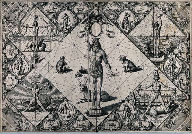 """Human proportions established through mythological figures."" By Girard Thibault."