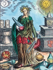 Goddess Alchemy carries a flask containing the quintessence of the Earth © NYPL/Science Source: Getty Images
