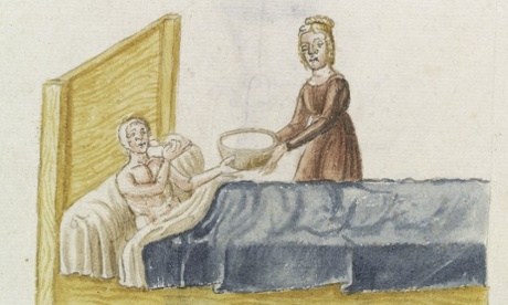 A nurse brings polte de orzo (possibly barley broth) to a patient. 15th century illustration courtesy of the Wellcome Library, London. Photograph: Wellcomeimages