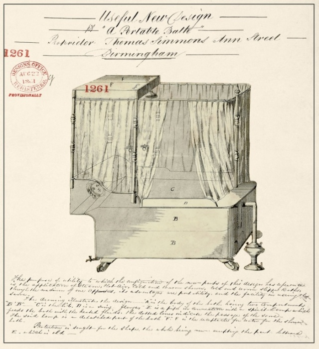 Useful New Design for 'A Portable Bath', 1861