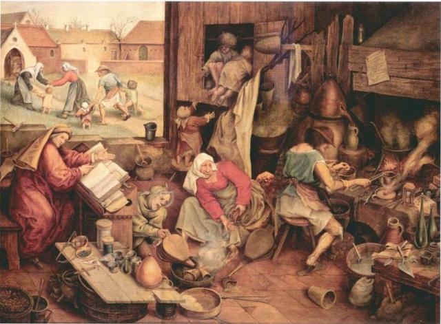 """The Alchemist"" 1558, Pieter Brugle the Elder."