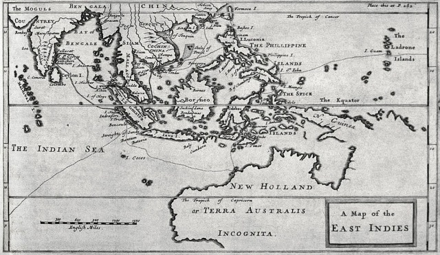 "Map of the East Indies from Dampier's ""A New Voyage Round the World"", published in 1697"