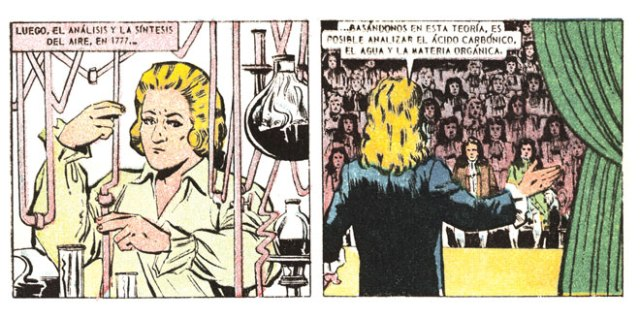 A Vida Ilustres comic about Lavoisier depicts the scientist identifying constituents of air through experiments on combustion. At right, Lavoisier shares his discovery with an audience. (Othmer Library of Chemical History, CHF)