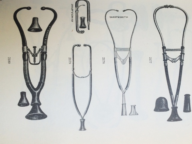 From the Sharp & Sharp Catalog of Instruments, 1905, displaying the variety of Cammann Stethoscopes available.