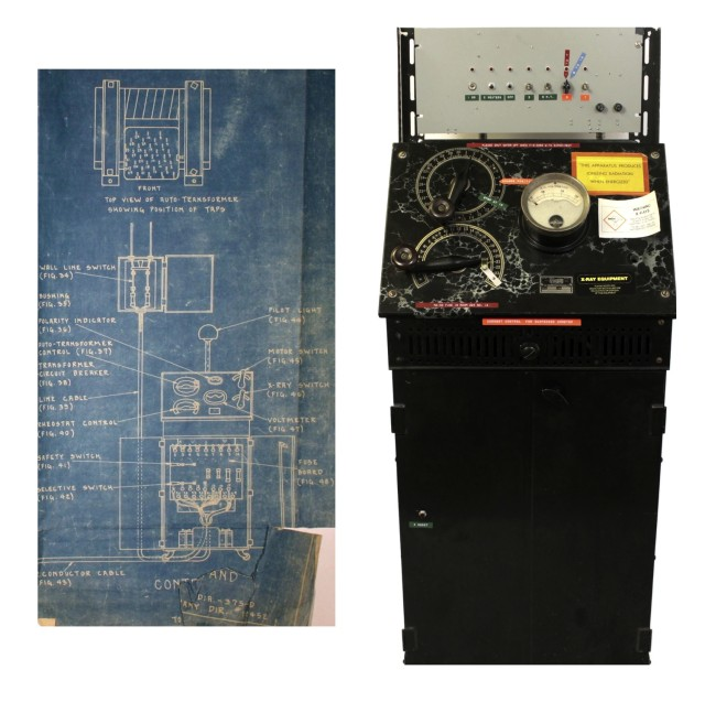 "A control stand from an Victor ""Snook Special"" x-ray machine. It was purchased in 1926 for the University of Toronto physics laboratory run by John Cunningham McLennan (1867-1935). On the left is part of the schematic that was sent with the original unit. On the right is the unit as it appeared when it was finally decommissioned by the Department of Physics in the early 2000s. The colourful modifications to the original faux marble panel could represent damage to a classic instrument, or evidence of a remarkably rich provenance."