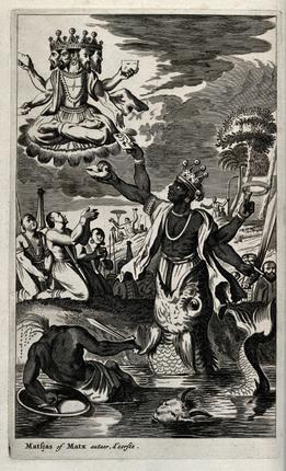 The gills have it: Vishnu in an incarnation of Matsya, the fish by Offert Dapper (Amsterdam, 1672)