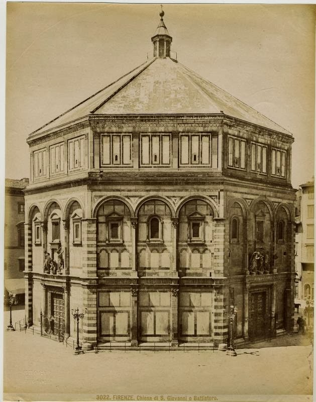"""Florence - Church of San Giovanni, the Baptistry"", Photo: Giacomo Brogi (1822-1881)."