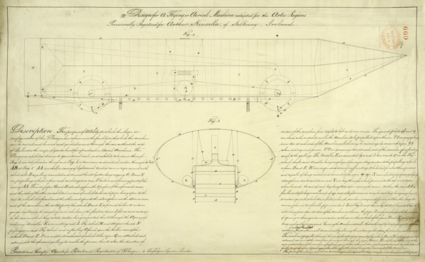 A design for a flying or aerial machine adapted for the Arctic regions, registered by Arthur Kinsella, Kilkenny, Ireland, May 1855. BT 47/4/669