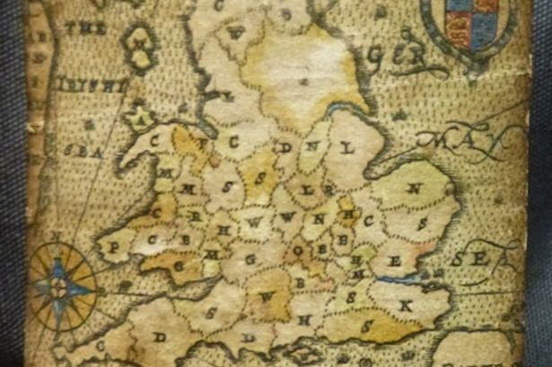 A map of England from one of the cards