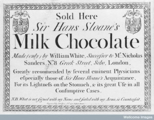 Trade-card 'Sir Hans Sloane's Milk Chocolate'. Image Credit: Wellcome Library, London.