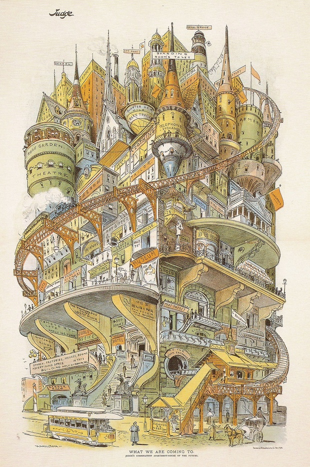 Grant Hamilton's illustration of a futuristic city called 'What We Are Coming To' appeared in Judge magazine in 1895. Anderson tweeted it out earlier this month.