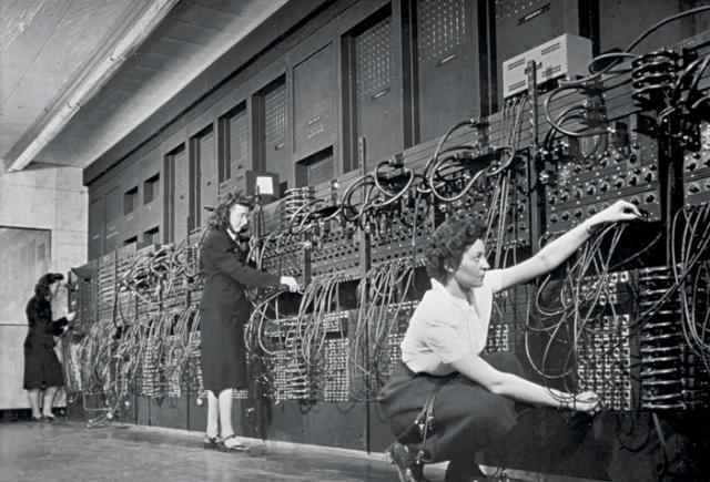 Jean Jennings (left), Marlyn Wescoff (center), and Ruth Lichterman program ENIAC at the University of Pennsylvania, circa 1946. Photo: Corbis