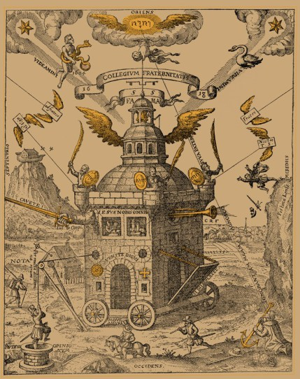 The Temple of the Rosy Cross, figure designed by Theophilus Schweighardt Constantiens (Speculum Sophicum Rhodostauroticum, 1618). This version courtesy of Ouroboros Press (2012).