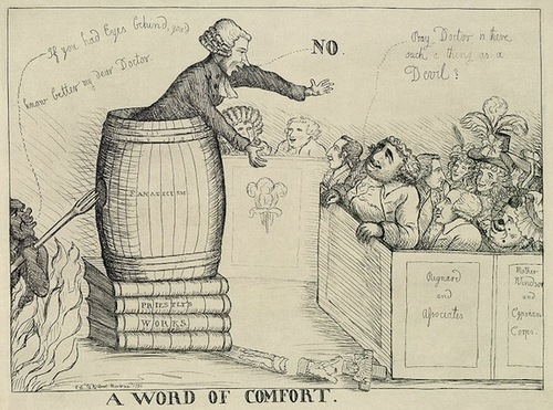 "(This political cartoon from 1790 links Priestley's ideas to ""fanaticism"" and radical religious ideas. Source)"