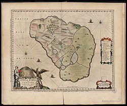 Map of Hven from the Blaeu Atlas 1663, based on maps drawn by Tycho Brahe in the previous century