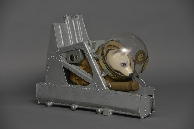 Dog spacesuit and ejector seat used on suborbital rocket flights launched from Kapustin Yar, Soviet Union, c. 1955. Credit: Zvezda Research, Development and Production Enterprise, photo by Rosizo.
