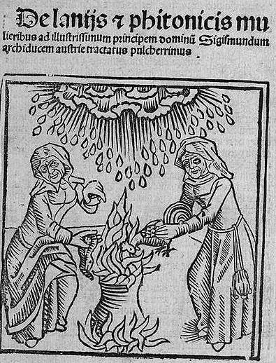 "Witches cause a hailstorm, illustration from the ""De Laniss et phitonicis mulieribus"" [Concerning Witches and Sorceresses], by the scholar Ulrich Molitoris, published in 1489."