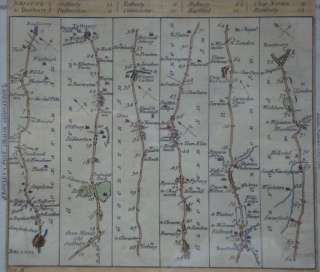 Linear maps printed by Bowles and Co – this is one showing the journey between Banbury and Bristol.