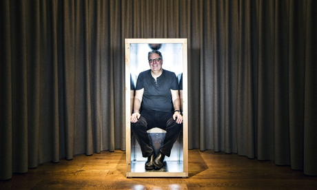 Thinking inside the box … Stephen Moss sits inside an 'orgone accumulator'. Photograph: David Levene