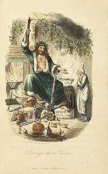 Scrooge's third visitor, by John Leech, 1843. (From Wikimedia Commons)