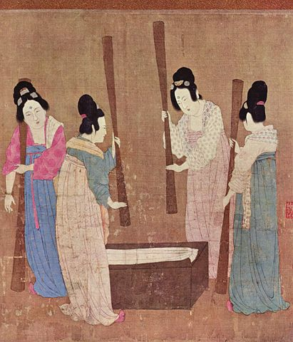 Women preparing silk, painted around 1100 by Emperor Huizong of Song; from Wikimedia.
