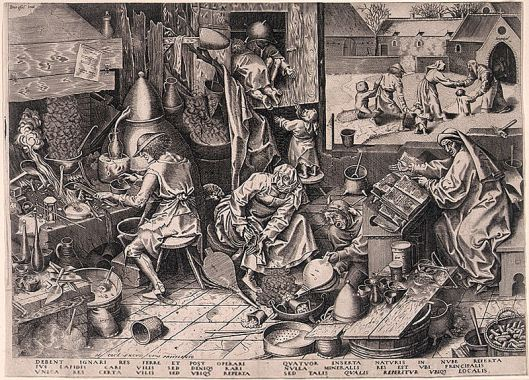Breughel's famous drawing of an alchemist and his family