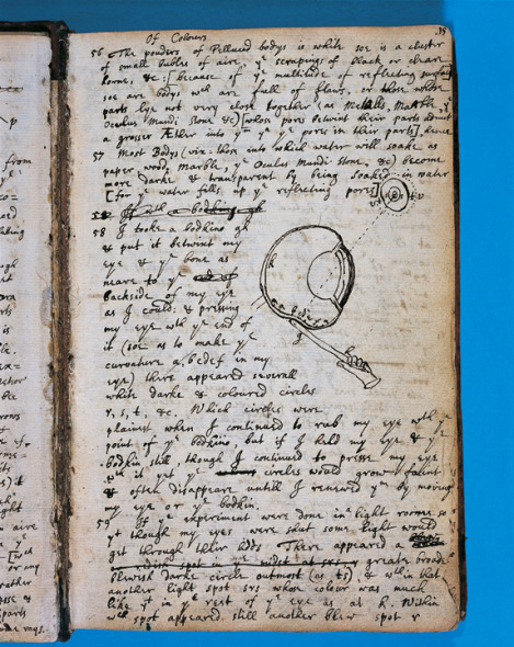 The page from Isaac Newton's journal where he described using a needly to poke the back of his eyeball. From the Cambridge University library.