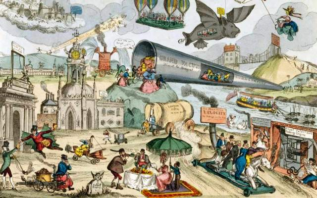 Detail from Paul Pry's (aka William Heath) 'March of Intellect' series featuring (and lampooning) fantastical modes of trasnport c. 1828. Photo by SSPL/Getty