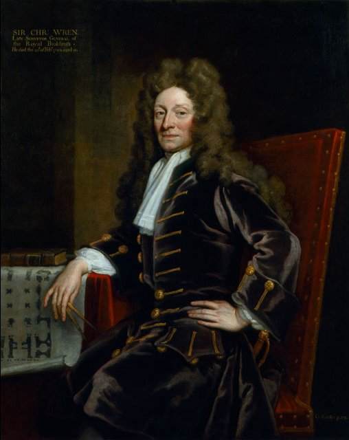Sir Christopher Wren The 9th Gresham Professor of Astronomy Godfrey Kneller's 1711 portrait