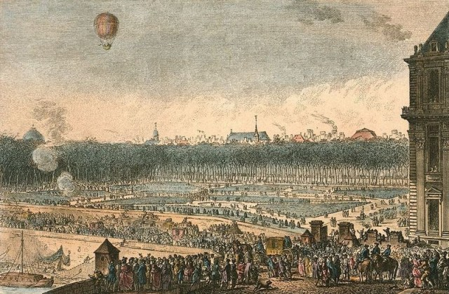 The Jardin des Tuileries depicted during the balloon launch (hand-colored etching, 1783) (via Library of Congress)