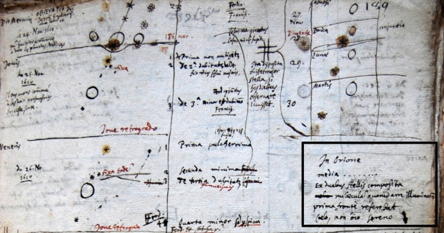 Peiresc's notes recording his first observation of the Orion Nebula