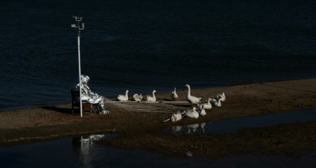 THE MOON GOOSE EXPERIMENT Island of the Sacred Scarab, launch pad, in the River Ob, near Novosibirsk, RU, 1st Aug. 2008, photograph @ Agnes Meyer-Brandis, VG-Bildkunst