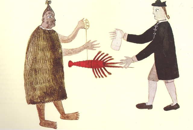 Self portrait of Tupaia, Captain Cook's Polynesian navigator, bartering a lobster c. 1769. British Library