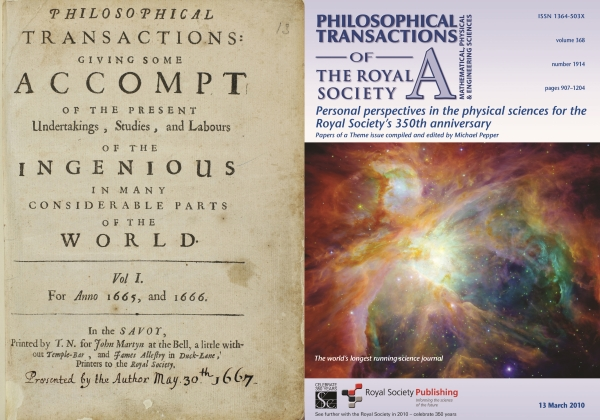 Front covers of the Philosophical Transactions from 1665 and 2010.