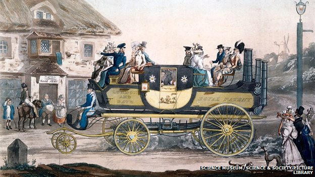 People on board Sir Goldsworthy's steam carriage on its journey from London to Bath in 1827