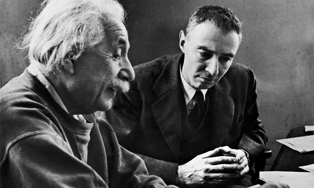 Robert Oppenheimer, right, with Albert Einstein in 1947. Photograph: Alfred Eisenstaedt/Life Picture Collection/Getty