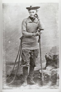 """Men, we all know, climb in knickerbockers. Women, on the contrary, will declare that a skirt is no hindrance to their locomotion. This is obviously absurd… For a woman in difficult mountaineering to waste her strength and endanger her life with a skirt is foolish in the extreme.""  Peck, Outing Magazine, ""Practical Mountain Climbing,"" 1901."