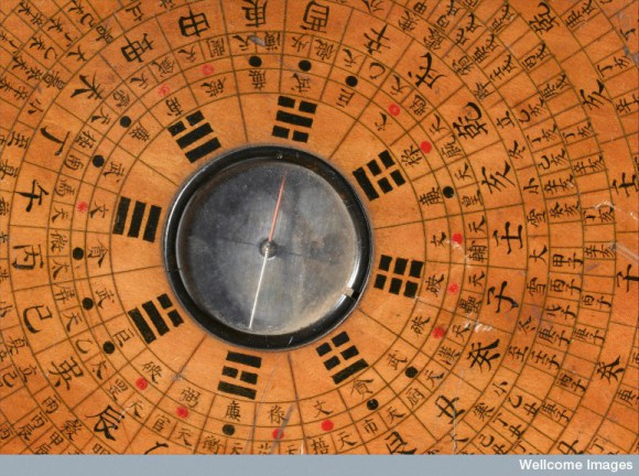 Ancient Chinese wooden geomantic compass and perpetual calendar
