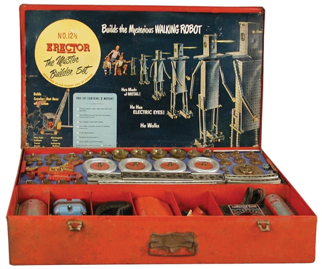 Bridges, derricks and robots were common early Erector set projects. Even newer Meccano sets have spawned impressive projects, like the airplane below. Yale medical student William Sewell really thought outside the box when he used Erector parts to build the first artificial heart pump. Erector U.S./Meccano