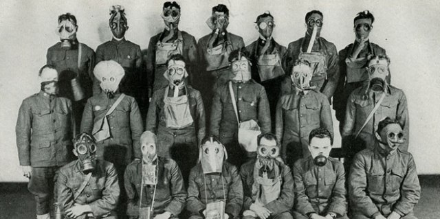 Detail of a photo displaying gas masks developed during World War I. (Othmer Library)