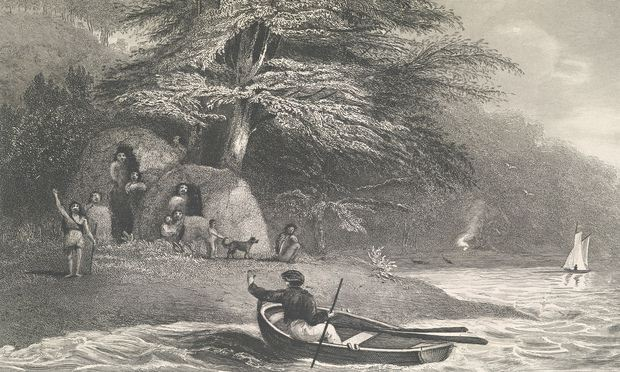 Fuegian tribespeople encounter members of Darwin's expedition in a 1839 illustration by members of the crew. Photograph: British Library/Rex