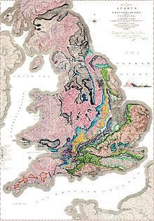 Smith's famous 1815 geological map of part of Great Britain Source: Wikimedia Commons