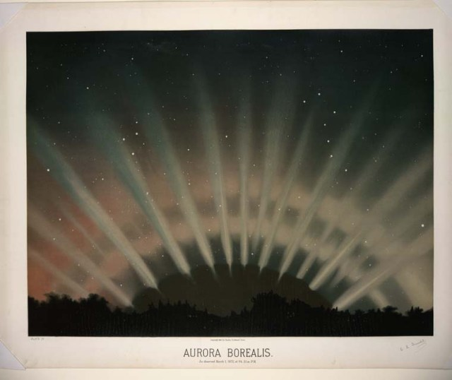 """Aurora Borealis. As observed March 1, 1872, at 9 h 25m P.M."" E.L. Trouvelot, 1881–82."